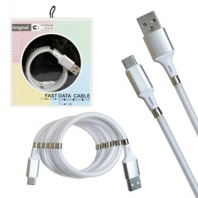Кабель USB magnet MR-36 Type-C 1m White (New Product)